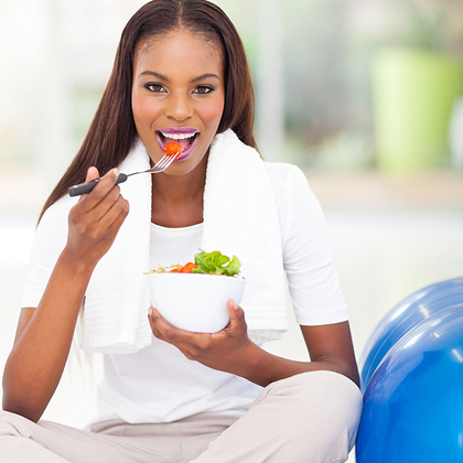 black woman healthy eating exercise