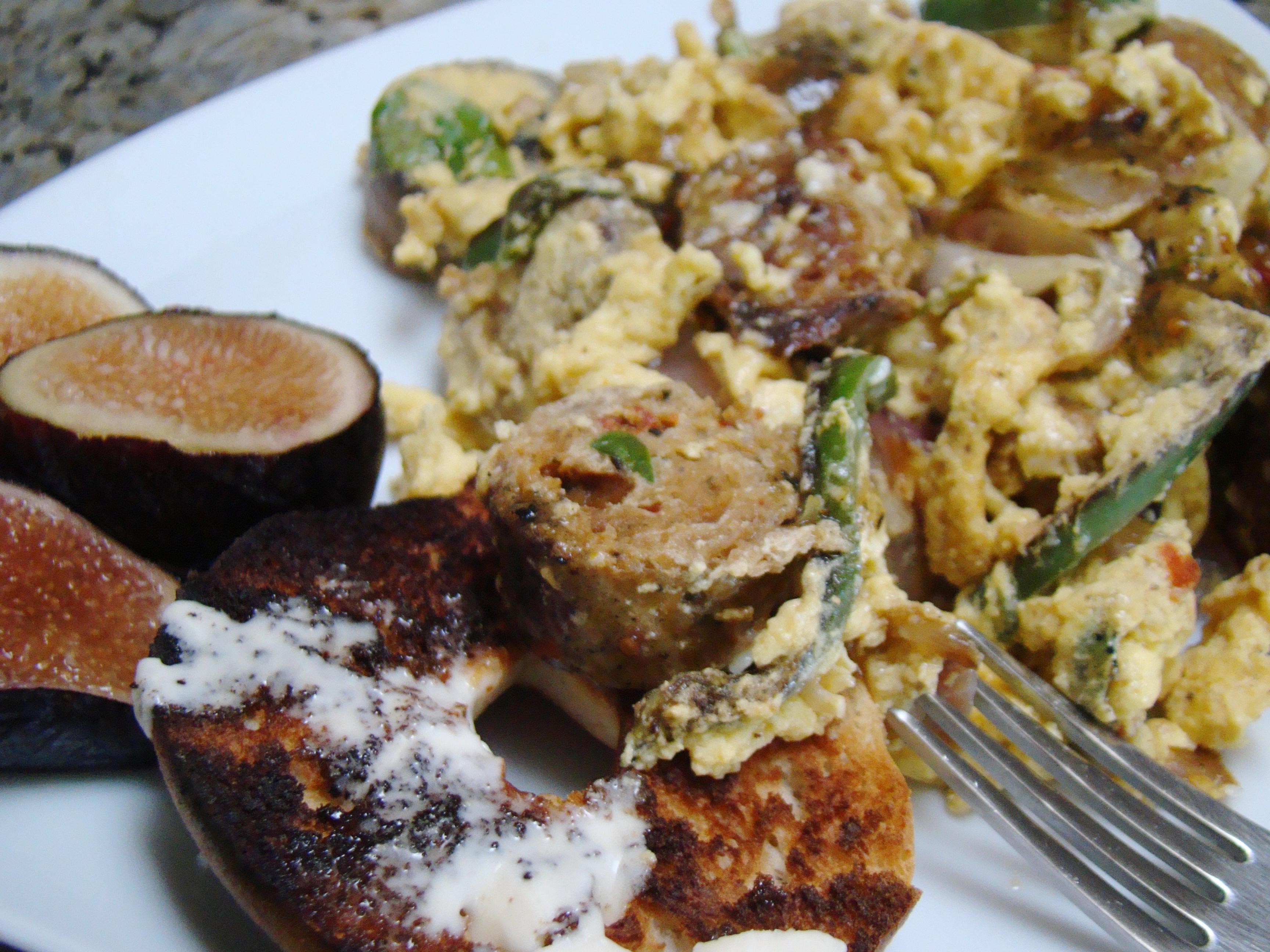 Tofu scramble with seitan sausage and jalapenos