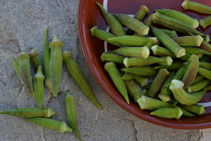 Overhead view of a Bowl of okra