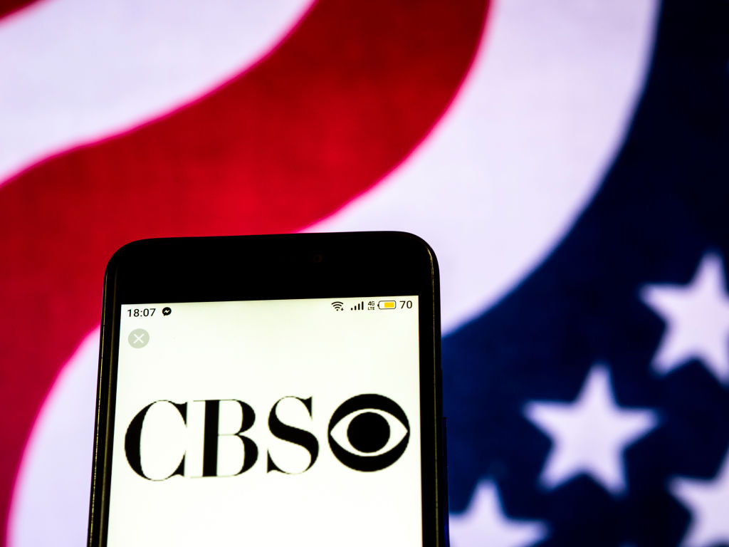 CBS Television broadcasting company logo seen displayed on a...