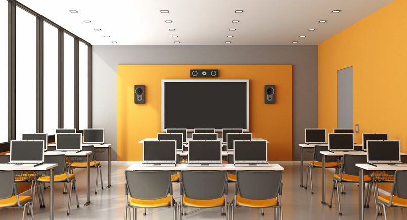 Empty Chairs In Classroom