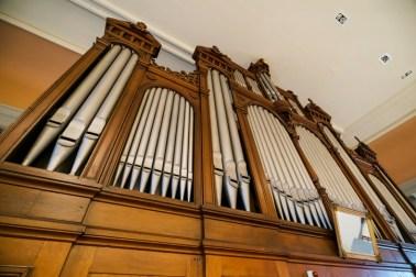 Beautiful old pipe organ in the church