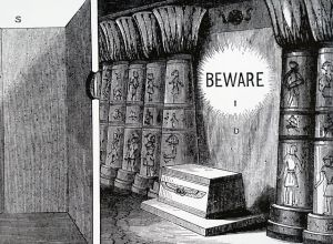 The explanation by Caspar Schott of how he thought the Egyptian priest used the principle of the camera obscura to display miraculous messages.