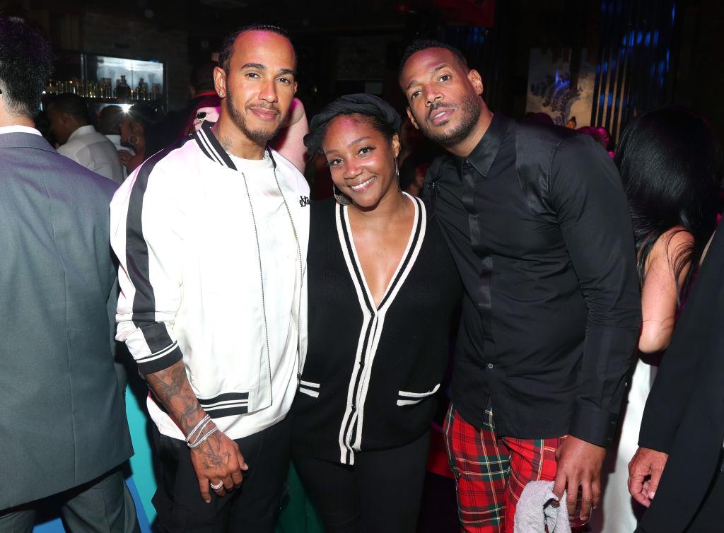 Lewis Hamilton, Tiffany Haddish and Marlon Wayans