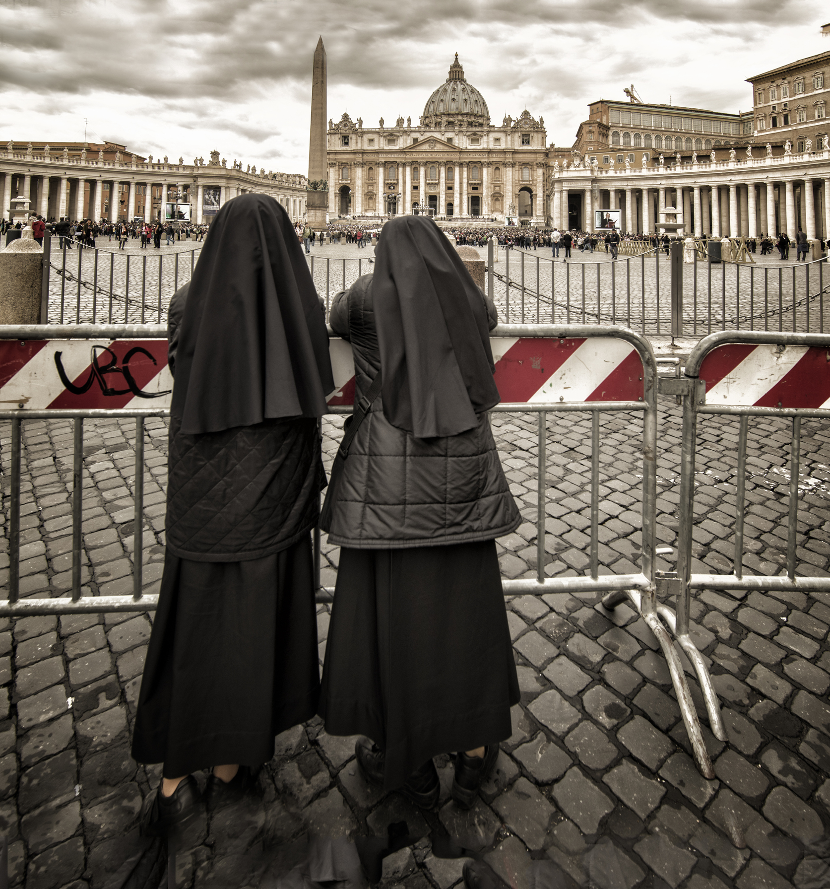 Two Nuns Stare at St. Peter's Basilica