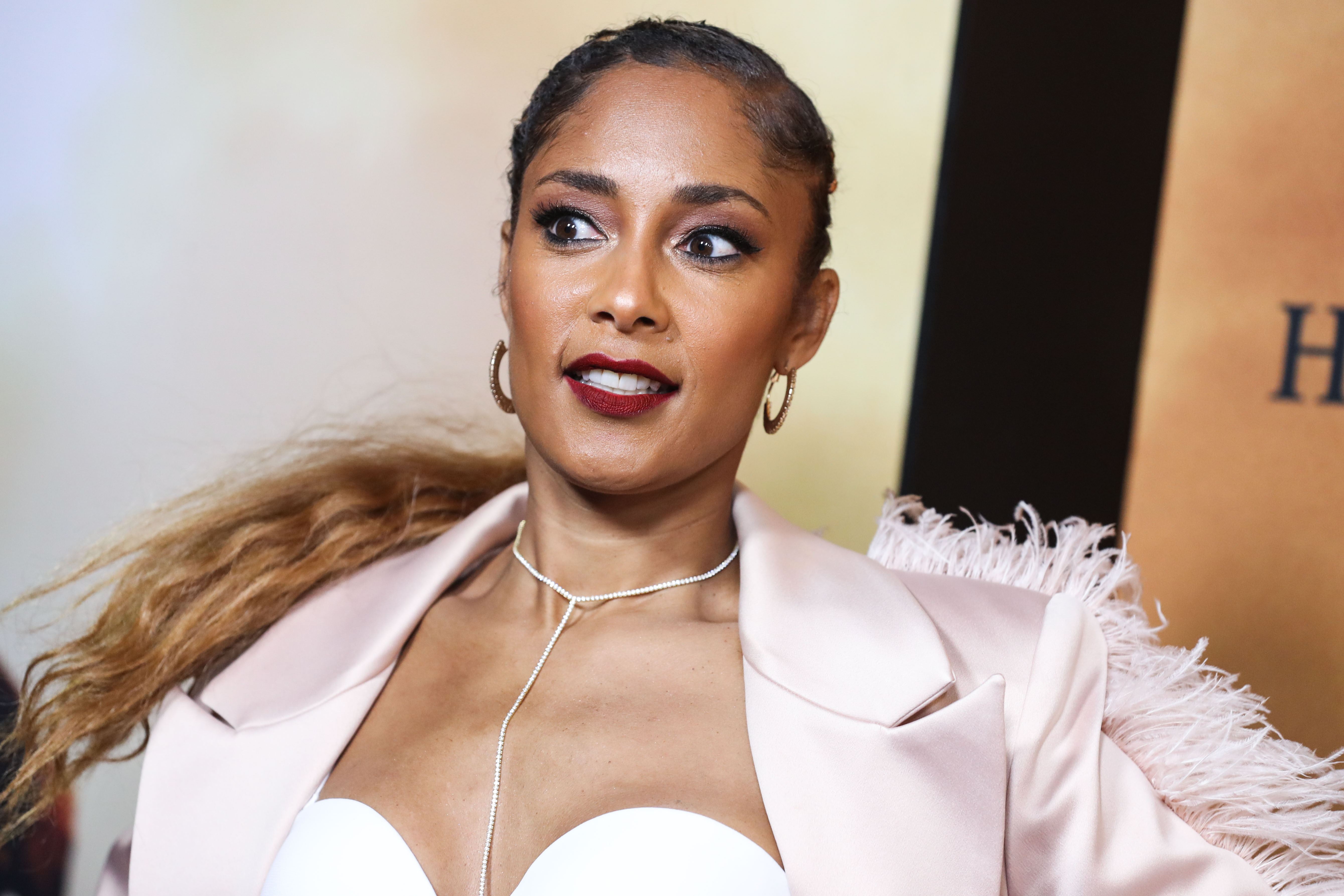 Amanda Seales arrives at the Los Angeles Premiere Of Focus Features' 'Harriet' held at The Orpheum Theatre on October 29, 2019 in Los Angeles, California, United States.