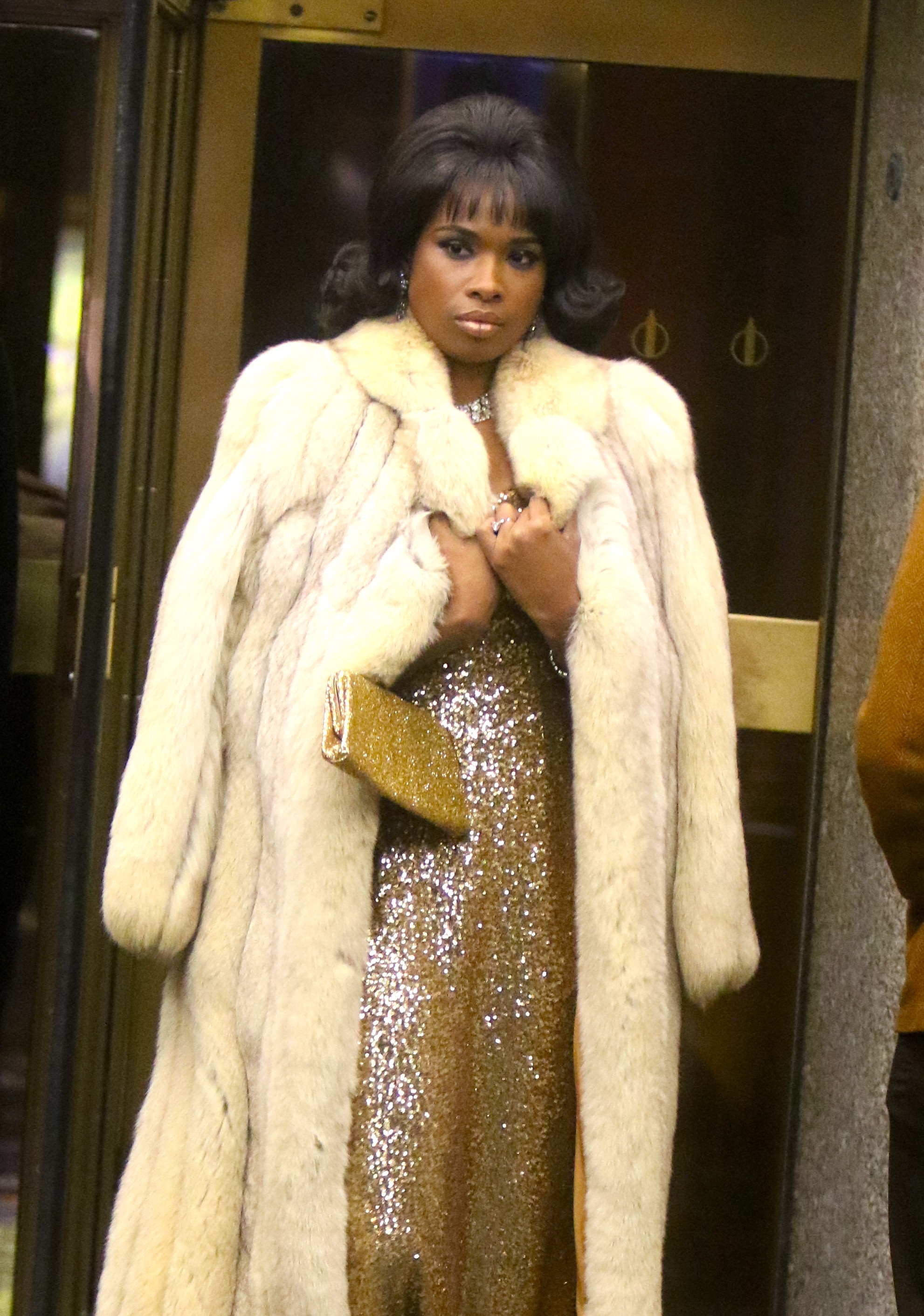 Jennifer Hudson shooting scenes from Aretha Franklin biopic Respect outside Rockfeller Plaza in Uptown, Manhattan