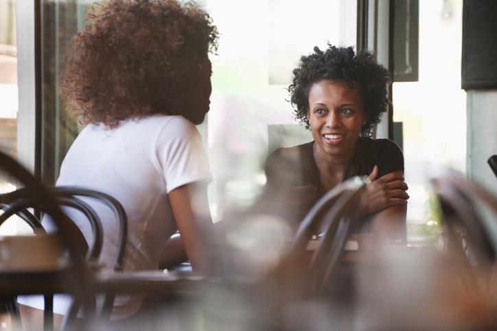 Black friends sitting together in cafe