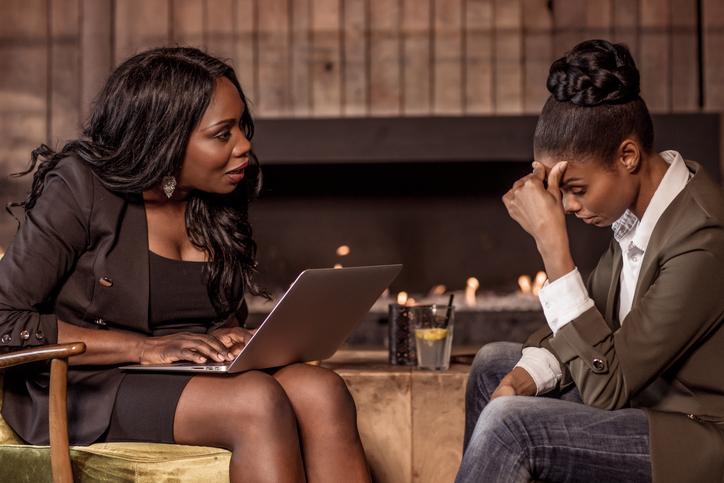 Beautiful black female professional counselling