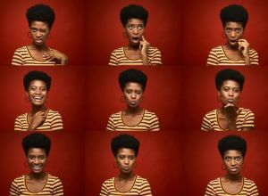 Beautiful young woman making faces in a head shot multiple image.