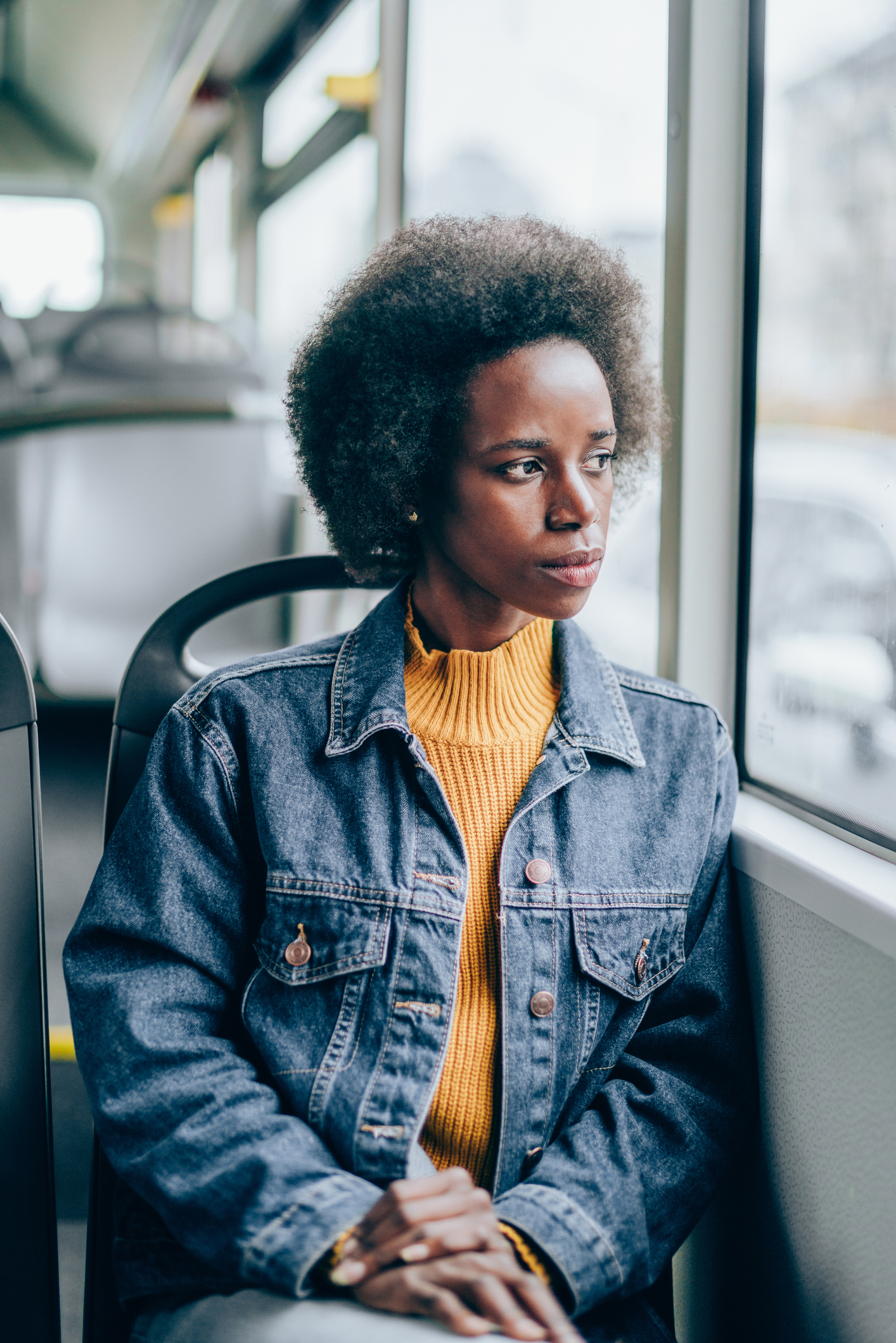 Woman traveling in bus