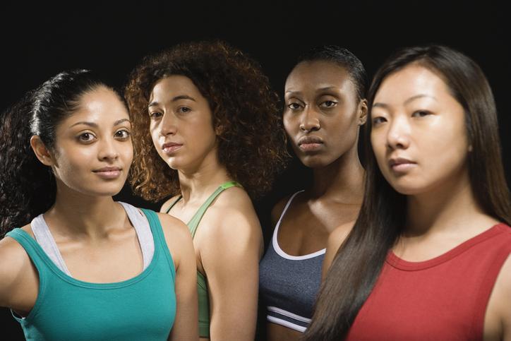 Group of multi-ethnic female athletes