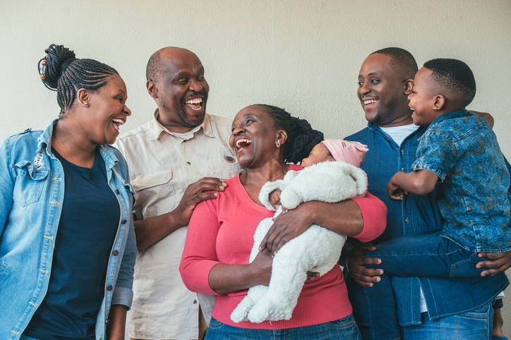 Multi-generational African Family Portrait Candid