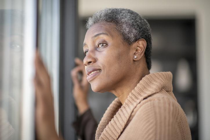Senior woman contemplates