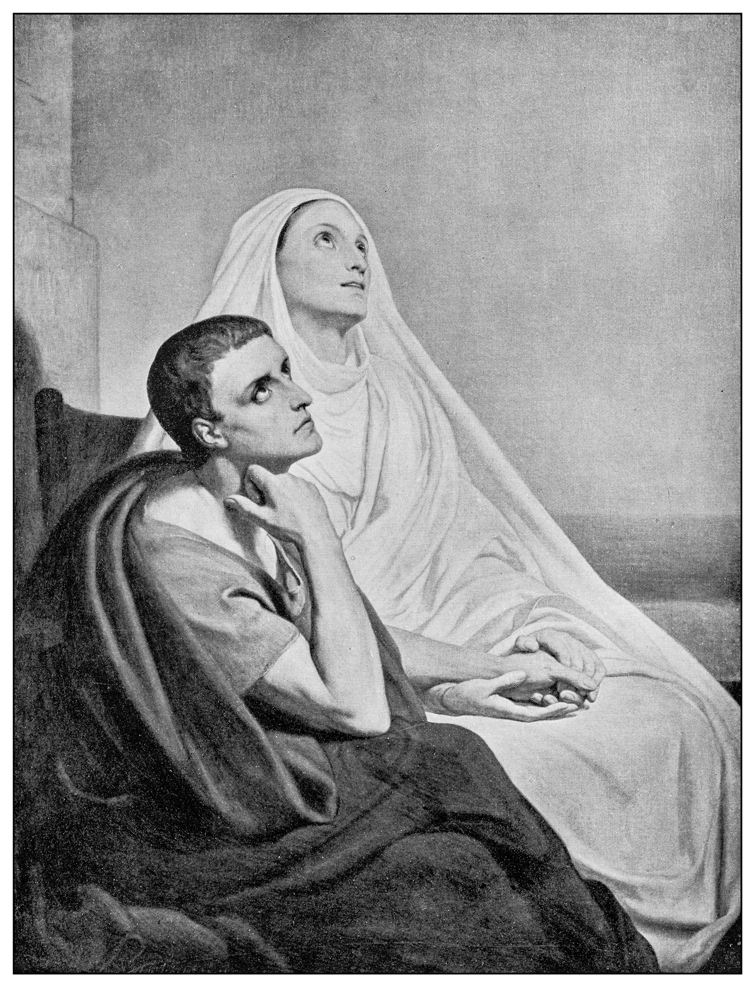 Antique illustration of important people of the past: St Augustine of Hippo and his mother, St Monica