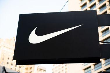 American multinational sportswear manufacturer Nike logo...