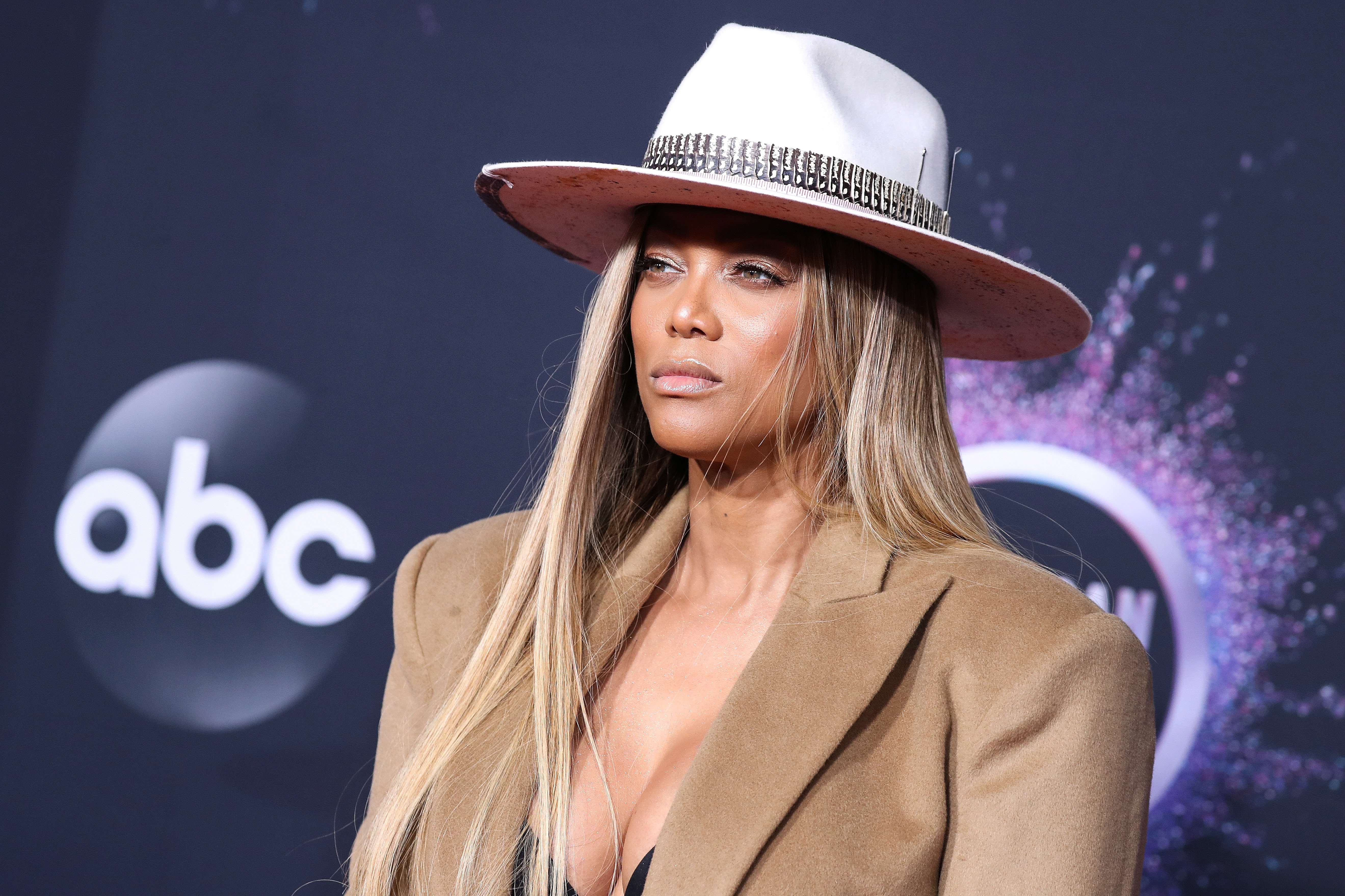 Tyra Banks arrives at the 2019 American Music Awards held at Microsoft Theatre L.A. Live on November 24, 2019 in Los Angeles, California, United States.