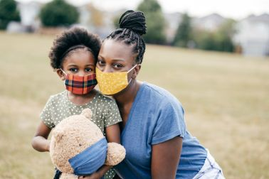 Outdoor Portrait of Mother and 5 y.o daughter wearing mask