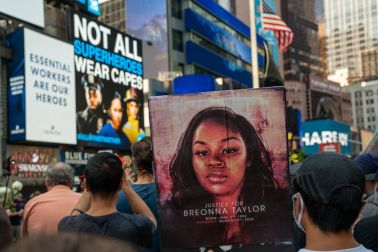 Black Lives Matter Protests Continue With March For Breonna Taylor Through Midtown Manhattan