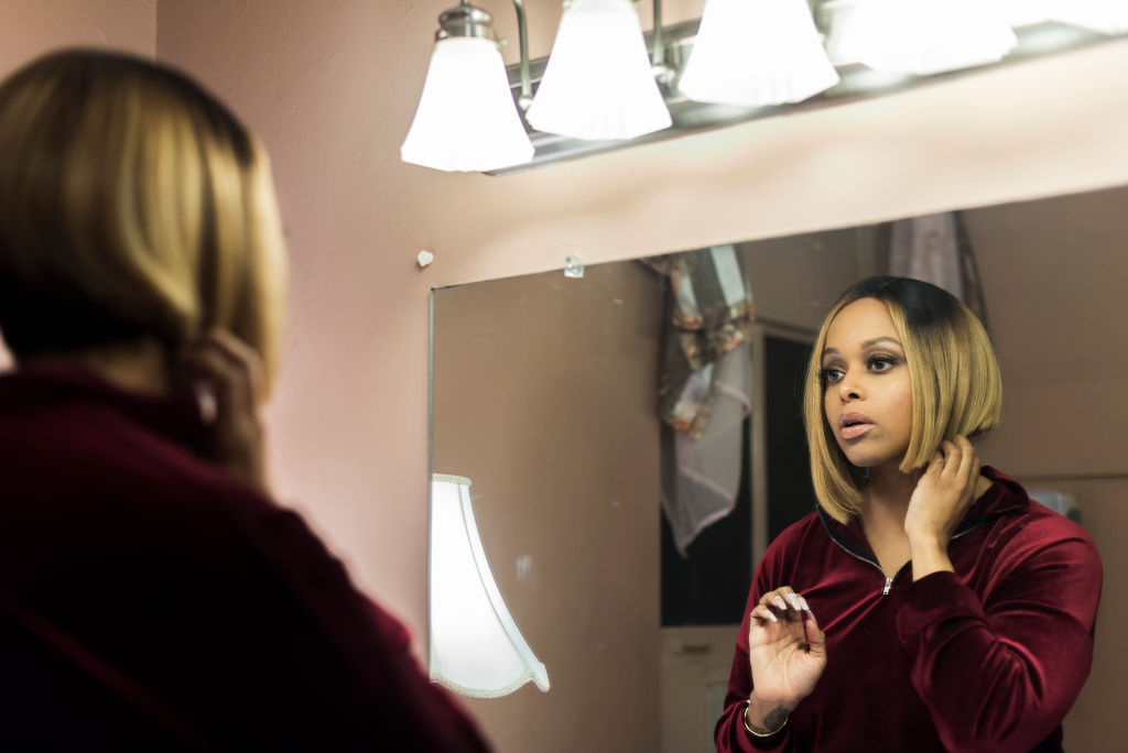 GLENSIDE, PA - DECEMBER 27 : Chrisette Michele gets ready in th