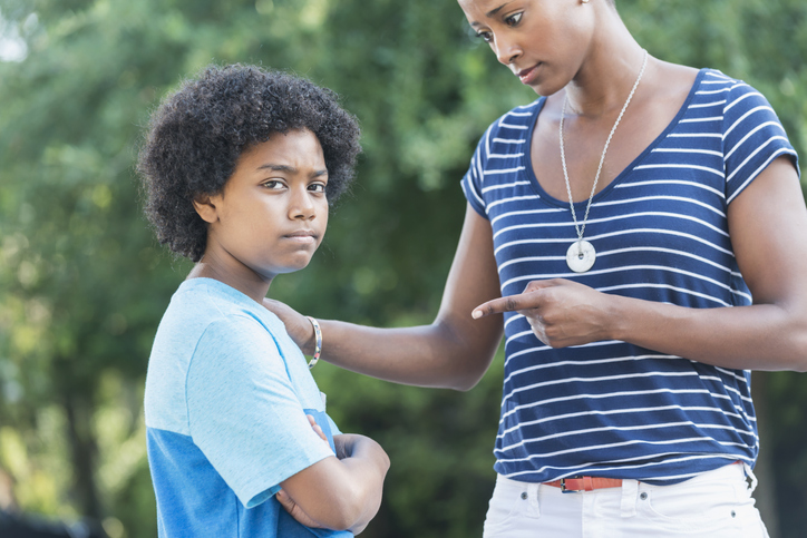 African American mother with mixed race son, parenting