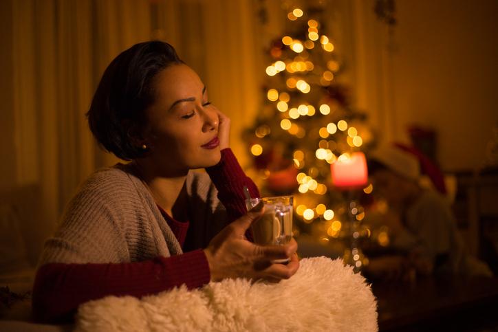 Beautiful mixed race woman at Christmas