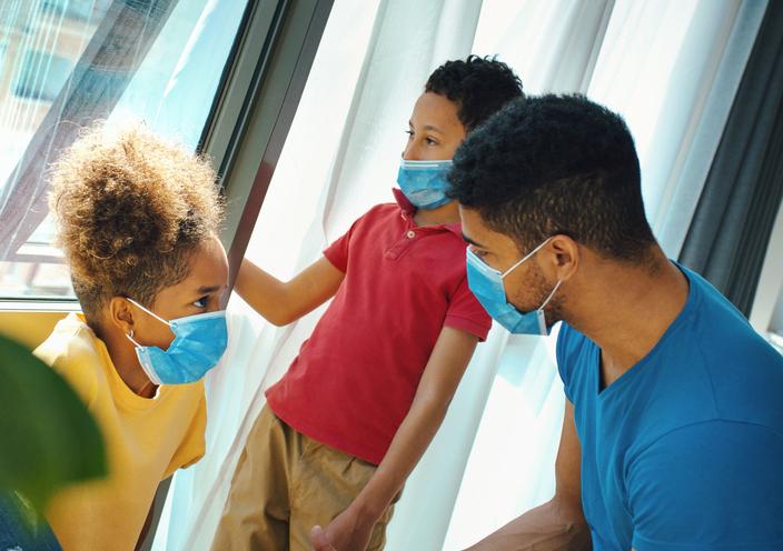 Family staying at home during coronavirus.