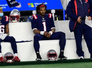Cam Newton, pictured during the Buffalo Bills v New England Patriots game, is frustrated that he hasn't seen his kids in three months