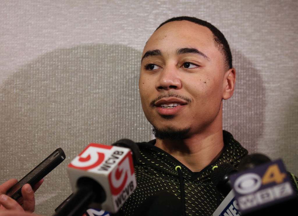 (Boston, MA - 1/21/16) Red Sox player Mookie Betts speaks with reporters during a media availability at the Boston Marriott Copley Place, Thursday, January 21, 2016. Staff photo by Angela Rowlings.