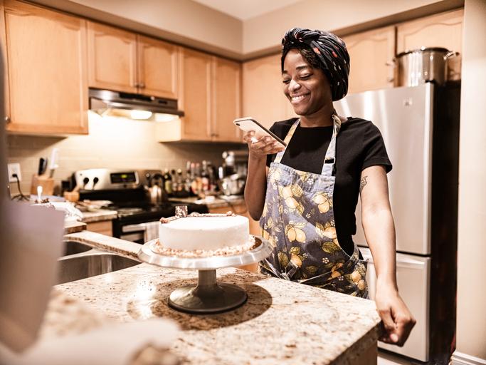 Young woman baking