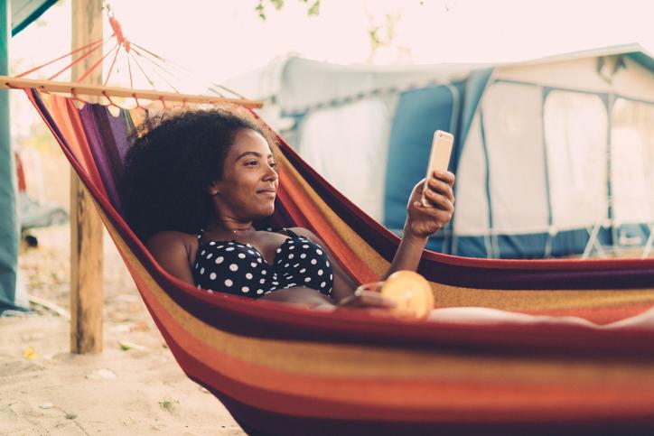 Relaxed woman in hammock