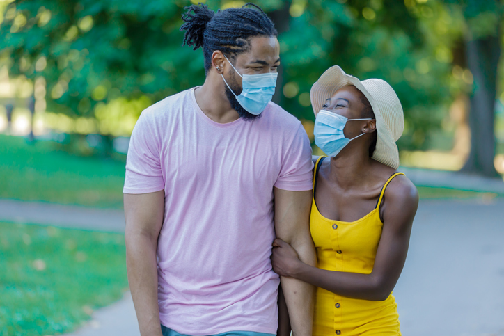 Happy African-American Man is Walking in the Public Park with His Lovely Wife During Time of Virus.