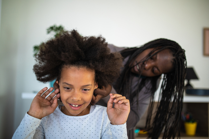Mother Doing Daughter's Afro