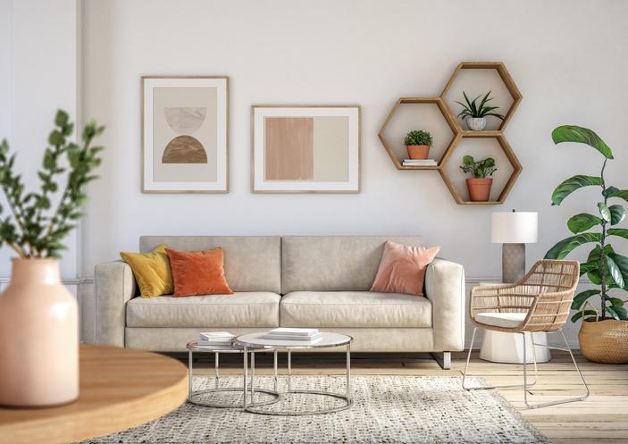 Bohemian living room interior - 3d render