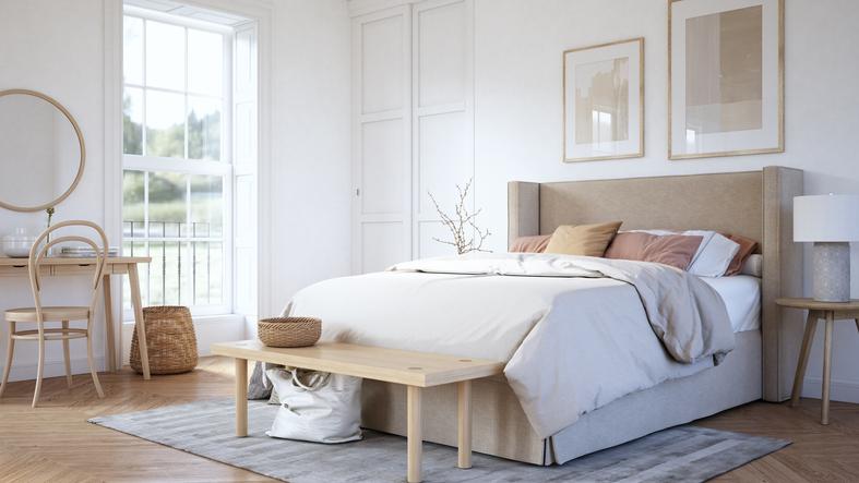 Scandinavian bedroom interior - stock photo