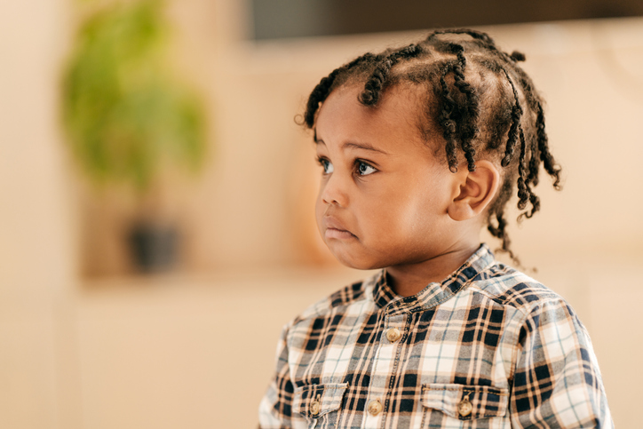 Toddler frowning