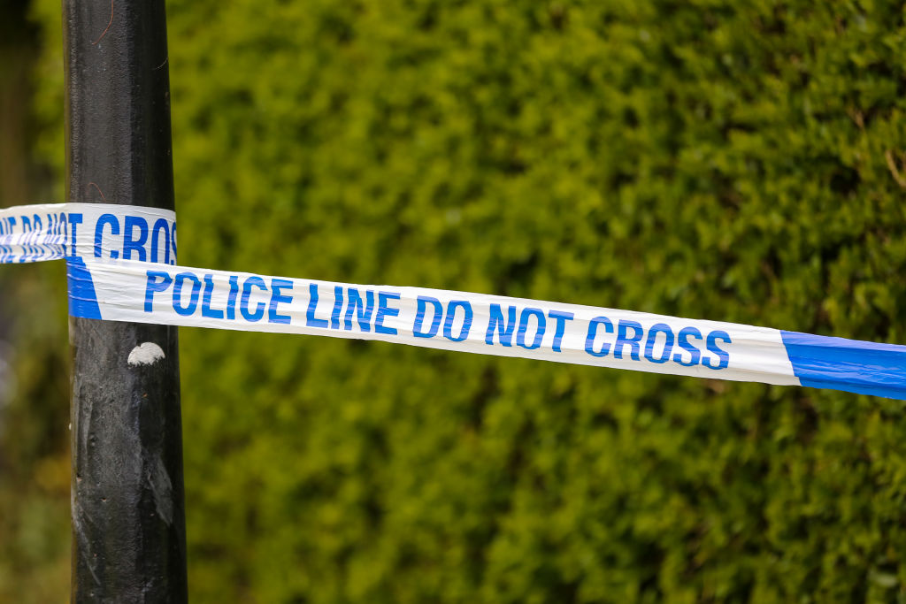 A police tape seen at a crime scene in London...
