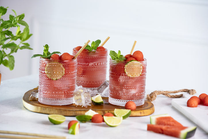 Horizontal composition of three glasses of watermelon sodas