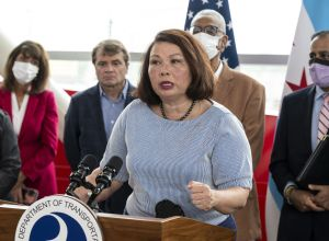 Tammy Duckworth at the U.S. Transportation Secretary Pete Buttigieg Tours Infrastructure Projects