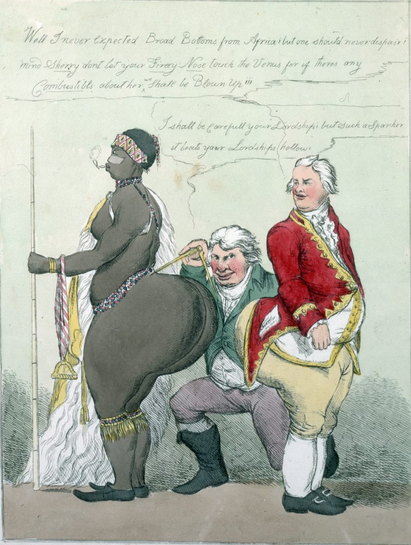 Caricature of Englishman and Hottentot Venus