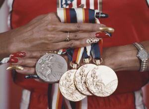 Griffith Joyner Displays Her Olympic Medals