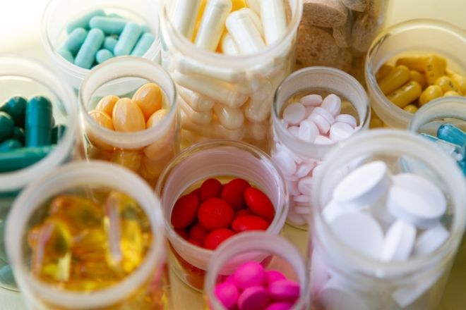 Pills in glass containers without caps