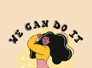 Girl Power Concept, Cartoon Style Vector Illustration